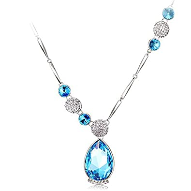 c524c074aa4 Buy Jewelentine Silver, blue and White Swarovski Crystal Heloise Pendant  Necklace Set for Women Online at Low Prices in India | Amazon Jewellery  Store ...