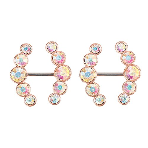 NEW ARRIVAL! Unique Modern Brilliance Highly Polished Best gift Sexy Pair 14G 316L Stainless Steel CZ gems curved arrow ends Nipple Piercing Barbell Belly Button Ring for rose gold plated. Description: New Fashion Design, Very Popular Stunnin...