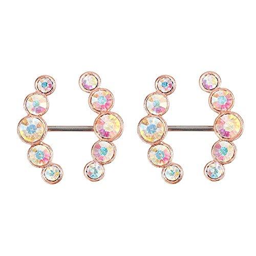 Nipple Ring (BODYA Nipple Ring Bars Double CZ Crystal Curved Arrow Body Piercing Jewelry Nipplerigns Pair 14G Rose Gold Tone)