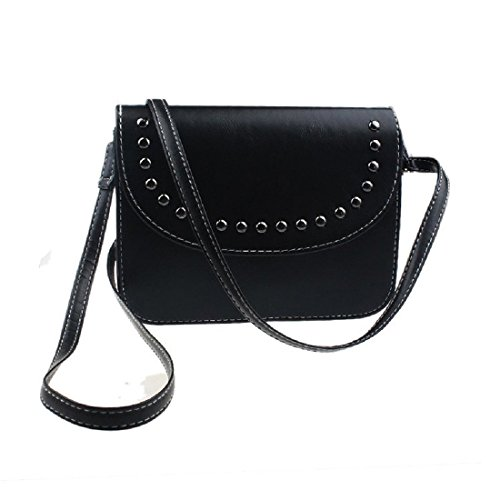 de bolsa cuero negro Bolso retro mujer de hombro de mensajero Bolsa TOOGOO Negro de vTzqR