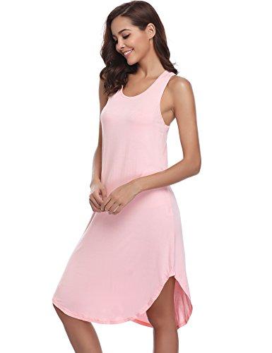 Girocollo Donna Sciolto da senza XL Rosa Navy Haijiate Vestito Estivo maniche Camicia Casual Notte Rosa Pigiama Gonna Cotone S Donna da Blu 75wA8Oq