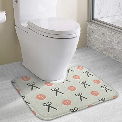 Poizyq Scissors Button Bathroom Rug, U-Shaped Bathroom Floor Rug Mat Bathroom Shower Rug (40