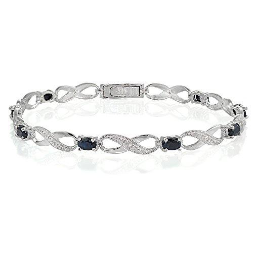 Ice Gems Sterling Silver Black Sapphire Infinity Link Bracelet
