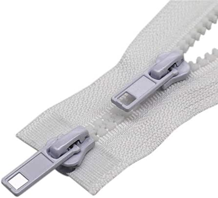 YaHoGa #5 32 Inch Two Way Separating Jacket Zipper Silver Teeth Metal Zippers for Jackets Coats Sewing Crafts 32 TW Silver