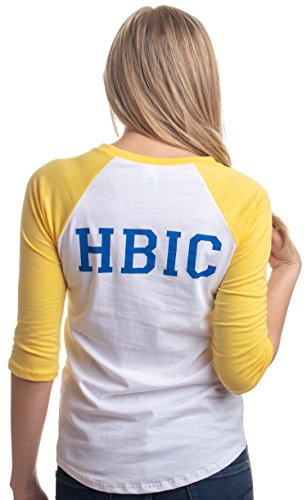 HBIC | Head Bitch in Charge Cosplay Teen Vixen Women Yellow Baseball T-Shirt-(Women,M)