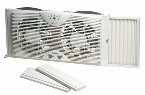 Amazon.com: Doble ventilador de la lámina de ventana doble con One Touch Termostato: Home & Kitchen
