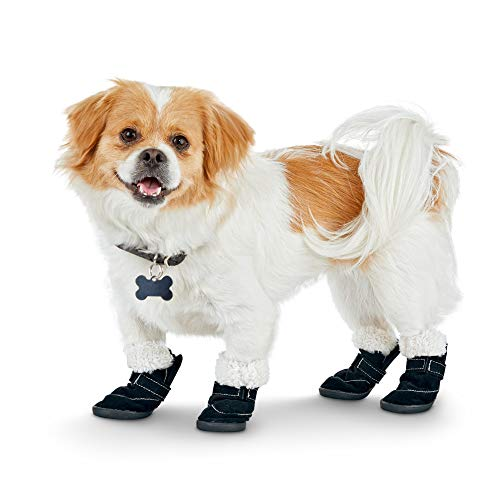 (Good2Go Fleece-Lined Dog Boots in Black,)