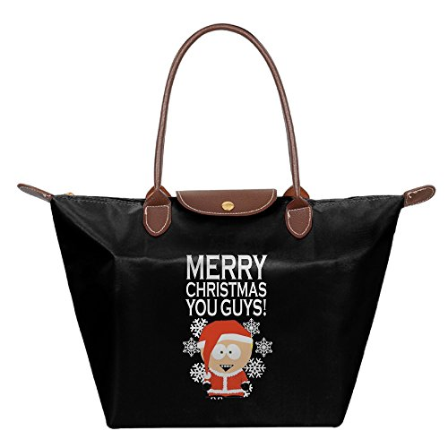 South Shoulder Tote (South Park Santa Cartman Merry Christmas Women Black Nylon Handbag Tote Shoulder Bags)