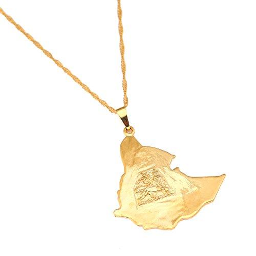 BR Gold Jewelry Original Ethiopian Map Necklace for Women Lion Eritrea Ethiopia Old Map Pendant