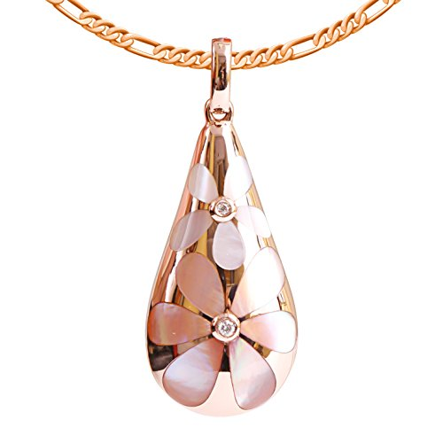 9K High Polished Rose Gold with White-Pink Pearl and 0.02ct Diamond Amazing Pendant
