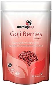 Morning Pep's 8 OZ 100% Natural USDA Certified Organic GOJI BERRIES Raw Sundried NON GMO