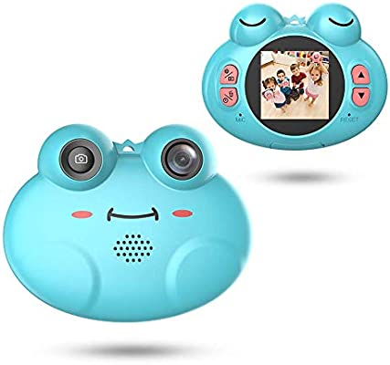 8X Digital Zoom Camera Flash Mic for Girls//Boy Cute Cartoon Frog Design Portable Compact Anti-Shake Rechargeable with Games DIY Video Effects Kids Camera GordVE Digital Camera for Kids