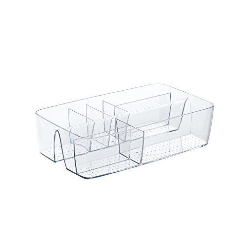 Budget & Good Desk Drawer Organizer Multi-Purpose Clear Plastic Vanity Tray for Home Bathroom Kitchen & Office Storage Organization, 8 Section, 1 Pack