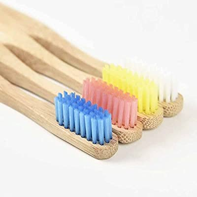 GoWoo Natural Bamboo Toothbrush Adult Size, 100% Organic and Biodegradable, With Soft BPA Free Nylon Bristles - Pack Of 4, Multi Color, Best Toothbrushes For Sensitive Gums