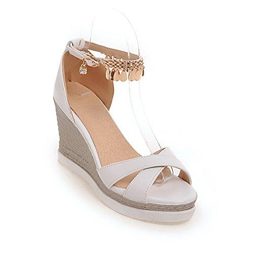 BalaMasa Womens Platforms-Sandals Beaded Hiking Urethane Platforms Sandals ASL05212 White d1Vqn