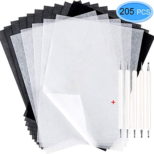 200Pcs Tracing Paper, EAONE Transfer Tracing Paper and Carbon Graphite Paper with 5Pcs Embossing Stylus for Wood Burning Transfer, Wood Carving and Tracing, Black and White -