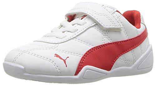 PUMA Baby Tune Cat 3 Velcro Kids Sneaker, White-Flame Scarlet, 8 M US Toddler
