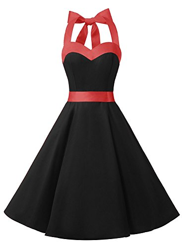 (DRESSTELLS 50s Retro Halter Rockabilly Bridesmaid Audrey Dress Cocktail Dress Black 2XL)