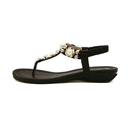 Avec Chaussures 01 Perle De Voyage Et Basse Aptro Plates Noir Strass Plage Femme Sandales Tongs TxcwqOO5Hz