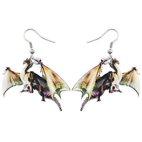 NEWEI Acrylic Drop Dangle Long Big Sweet Dragon Earrings For Women Girl Gift Fashion Jewelry (Green)