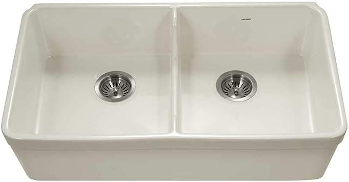 Amazon Com Houzer Ptd 6400 Bq Fireclay Kitchen Sink Biscuit Home Improvement