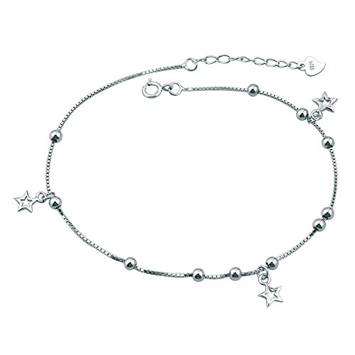 (Corykeyes Sterling Silver Anklet Star Double Chain Beach Ankle Bracelet (Filigree Stars))