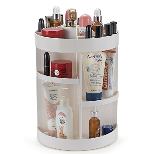 Makeup Organizer 360 Degree Rotating Adjustable Shelves Large Countertop Multi-Function Cosmetic Storage Box (New Style White)