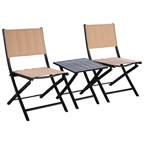 Giantex 3PCS Steel Folding Square Table Chairs Set Bistro Garden Furniture by Giantex