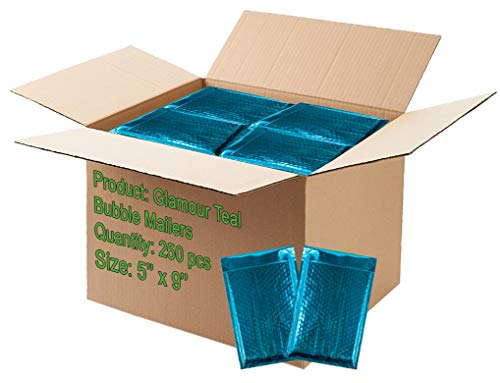 250 Pack Bubble mailers 5x9 Padded envelopes 5 x 9. Teal Cushion envelopes. Exterior Size 6.5 x 10 (6 1/2 x 10). Peel & Seal. Glamour Metallic foil. Mailing, Shipping, Packing.