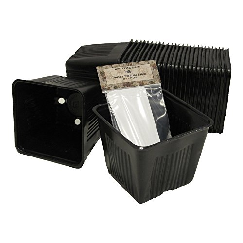 NEW! Gage Durapot Bonus Bundle: 25 4-Inch Square Black Plastic Nursery Pots and 25 Write-On Stake Labels (Recycled Plastic Square)