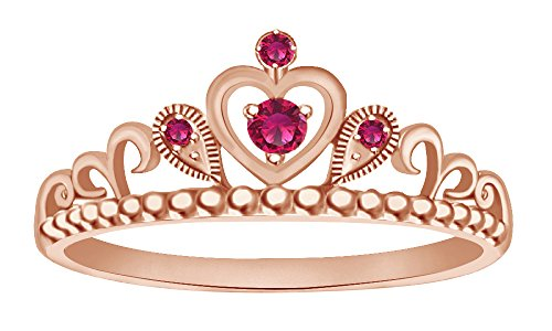 Milgrain Heart - Simulated Ruby Milgrain Heart Princess Crown Engagement Ring in 14k Rose Gold Over Sterling Silver Ring Size - 6.5