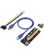 PCI-Express PCI-E 16X Extender Riser Card USB 3.0 SATA 15P-4Pin Adapter Slots met gesp, draagbaar - zwart