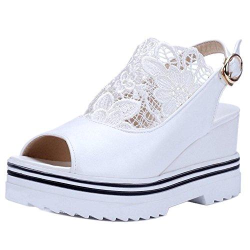 TAOFFEN Brides white Compensees Sandales Femmes pWRxWZYa