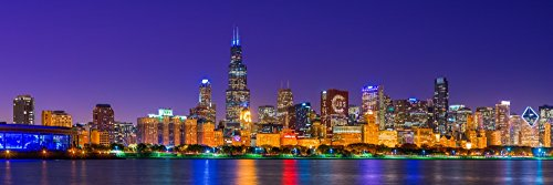 Chicago skyline with Cubs World Series lights night Lake Michigan Chicago Cook County Illinois USA Poster Print by Panoramic Images (18 x 6) from Posterazzi