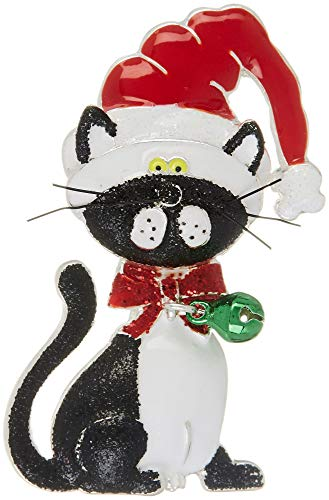 Red Pins Hat Jewelry (Brighten The Season Santa Hat Holiday Cat Pin Black/White/red Multi)