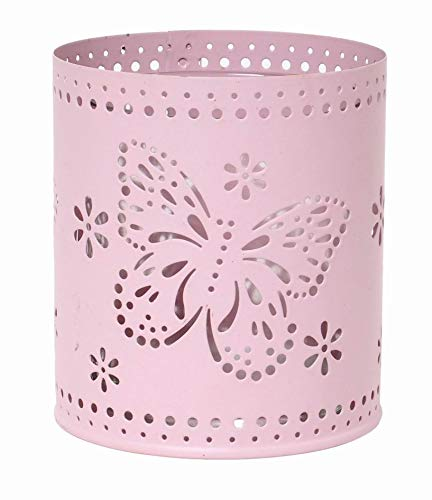 Hosley Set of 6, 3.5'' High Pink Metal Laser Cut Candle Holders w/Glass Cup Included. Ideal Weddings, Parties Special Events. W1