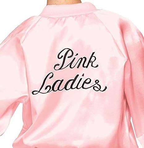 Smiffys Smiffys-27490L Cantante Licenciado Oficialmente Cazadora de Las Pink Ladies de Grease, Rosa, con Logotipo, Color Rosado, L - Edad 10-12 años ...
