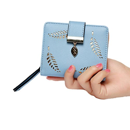 Shuohu Women's Short Leather Hollow Leaves Credit Card Holder Girls Clutch Purse Wallet