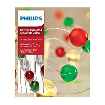 philips 30ct christmas battery operated led globes dewdrop fairy string lights red green and