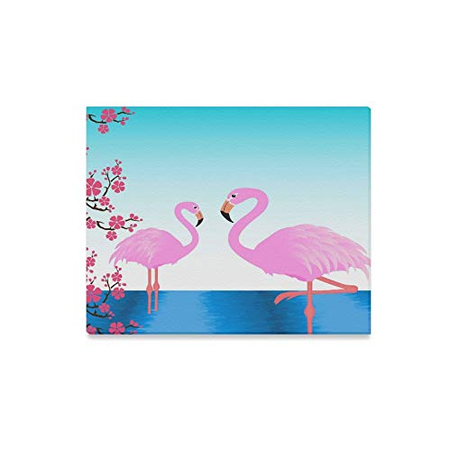 (ENEVOTX Wall Art Painting Two Flamingos in The Pond Postcard Invitation Prints On Canvas The Picture Landscape Pictures Oil for Home Modern Decoration Print Decor for Living Room)