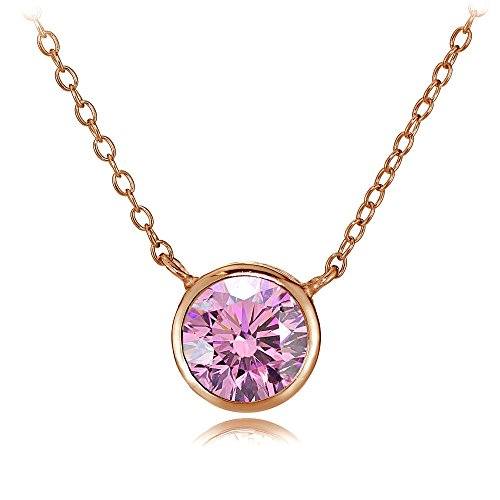 - Rose Gold Flash Sterling Silver Bezel-Set Pink Cubic Zirconia Round Solitare Necklace