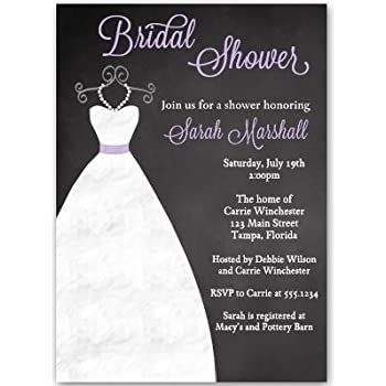 Amazon chalkboard bridal shower invitations pink pink and chalkboard bridal shower invitations purple lavender wedding gown dress filmwisefo Image collections
