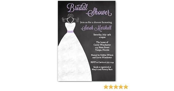 Bridal Shower Invitations Chalkboard Wedding Gown Black Purple White Lavender Dress Blackboard Luncheon Pearls Printed Customized Invites 10 Pack