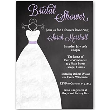 bridal shower invitations chalkboard gown black purple lavender wedding gown