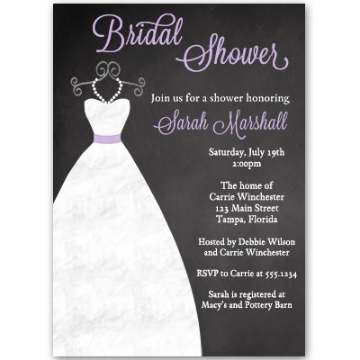 (Bridal Shower Invitations Chalkboard Wedding Gown, Black Purple White Lavender Dress, Blackboard, Luncheon Pearls Printed Customized Invites(10 Pack))