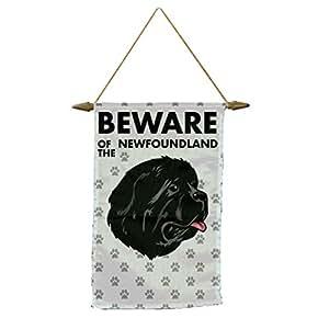Cuidado de Terranova perro Banner bandera con cuerda para colgar.