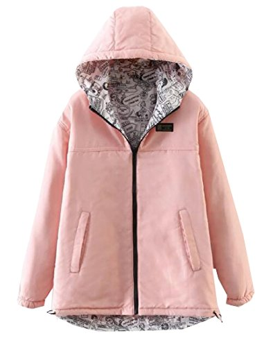 Zimaes Womens Reversible Warm Hooded Long Fleece Mid Parka Jacket AS3 L - Reversible Down Parka