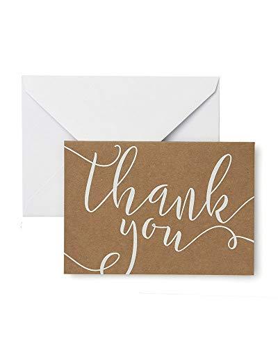 Gartner Studios White Script on Kraft Thank You Cards, 40 Count ()