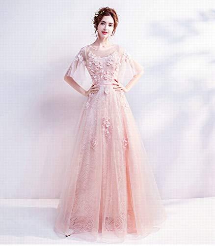 Rose Princesse Plissée Courtes Perlée Brodée Yt Manches Robe Fiançailles er À De Mariée Banquet M Mariage Soirée Petite vRaUnqW