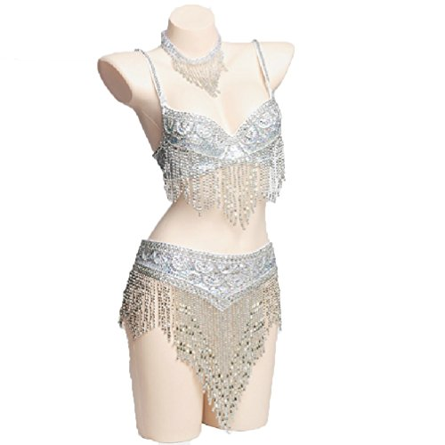 Donne Danza Mano Del Perle Miglio Brillante Densa Prestazione Di E S Fatto White Per Wqwlf Reggiseno Cintura Costumi Nappa m A Ventre Set 0wfWgqp